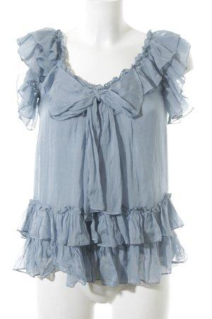 Lipsy Kurzarm-Bluse kornblumenblau Romantik-Look