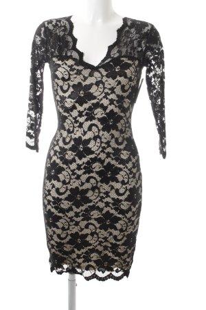 LIPSY LONDON Spitzenkleid schwarz-weiß florales Muster Party-Look