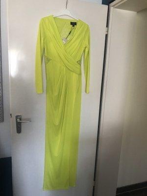 Lipsy Maxikleid Abendkleid spitze Kleid maxi Neon gelb grün langärmelig Winterkleid Herbstkleid