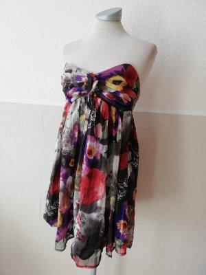 Lipsy Minikleid Kurzgröße UK 8 EUR 36 D 34 XS neu Seide Seidenkleid Silk Bandeaukleid