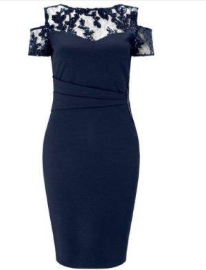 Lipsy Navy Schulterfreies Kleid mit Spitzenverzierung