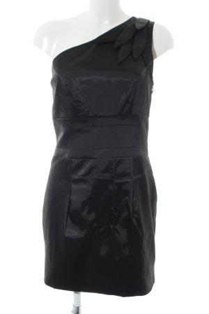Lipsy Vestido de un hombro negro look efecto mojado