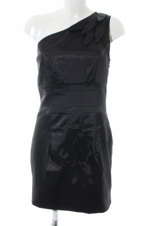 Lipsy One-Shoulder-Kleid schwarz Glanz-Optik
