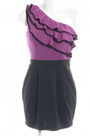 Lipsy Abito monospalla viola-nero elegante