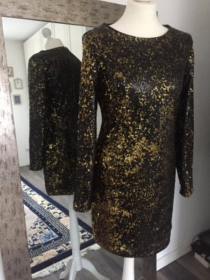 Lipsy Pailletten Kleid, Minikleid, schwarz gold