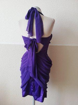 Lipsy Partykleid Kleid rückenfrei Neckholderkleid lila Chiffonkleid Gr. UK 8 34 36