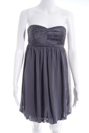 Lipsy schulterfreies Kleid grau Glanz-Optik