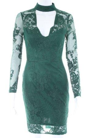 Lipsy Spitzenkleid dunkelgrün florales Muster Elegant
