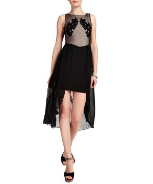 LIPSY VIP Abendkleid Kleid Chiffon apart schwarz EU 40 UK 14 NEU JD01917 NEU MIT ETIKETT