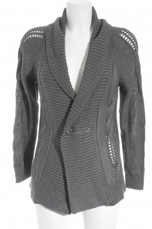 Lisa Campione Coarse Knitted Jacket dark grey cable stitch casual look