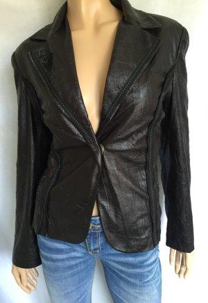 Lisa Campione New York Lederblazer Gr.44 schwarz Lederjacke Leder Blazer Knit