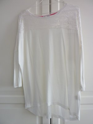 Lisa Tossa Shirt mit Spitzendetails Fledermausärmel creme L 42 44