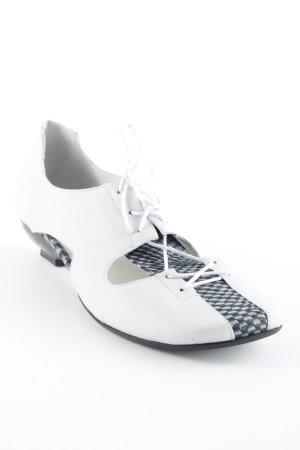 Lisa Tucci Schnür-Pumps weiß-graublau klassischer Stil