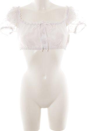 Lisas Landhaus Folkloristische blouse wit transparante uitstraling