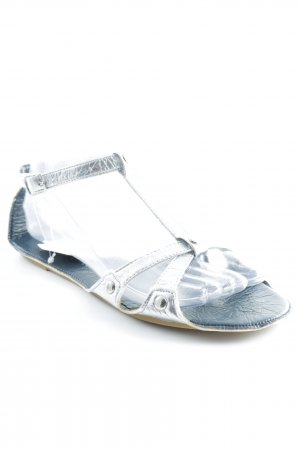Lise lindvig Strapped Sandals silver-colored wet-look