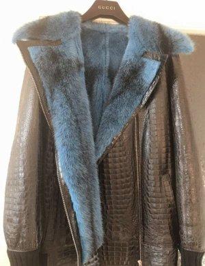 Pelzen jack blauw-zwart Bont
