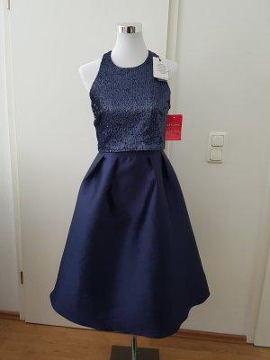 Little Mistress Abendkleid Blau Gr.38 midi Pailetten
