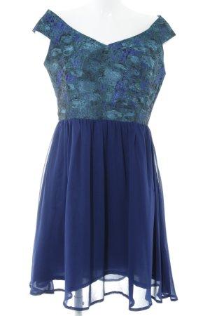 Little Mistress Abendkleid blau-kadettblau abstraktes Muster Elegant