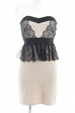 Little Mistress Vestido bandeau crema-negro elegante