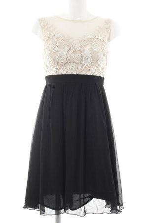 Little Mistress Vestido bustier crema-negro estampado floral elegante