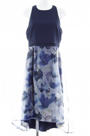 Little Mistress Vestido de chifón azul oscuro estampado floral elegante