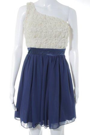 Little Mistress One-Shoulder-Kleid blau-creme Blumenmuster Elegant