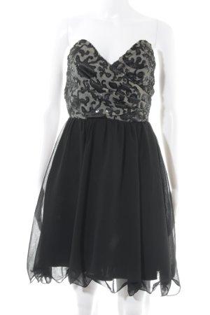 Little Mistress schulterfreies Kleid schwarz-beige Casual-Look