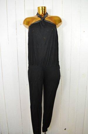 LIU JEANS by LIU JO Damen Jumpsuit Overall Schwarz Tube-Top Pailletten Gr. S