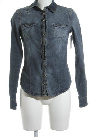 Liu jeans Jeanshemd dunkelblau-hellblau Street-Fashion-Look