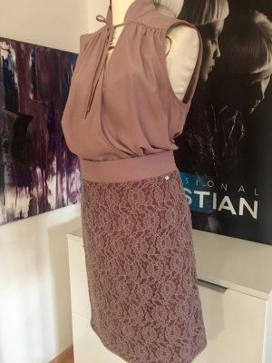 Liu jo Designer Kleid Taupe lila spitze ital 42 small