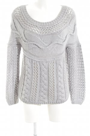 Liu jo Coarse Knitted Sweater light grey loosely knitted pattern casual look