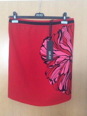 Liu Jo Rock in dramatischem Rot mit Blumenmotiv, Gr. 36, NEU!
