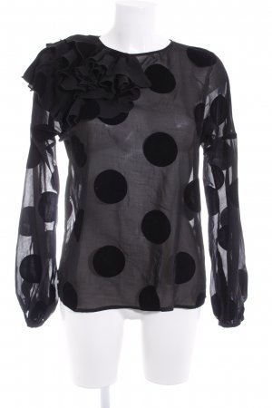 Liu jo Rüschen-Bluse schwarz Punktemuster extravaganter Stil