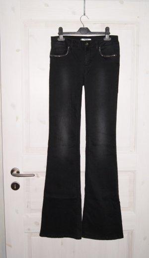 LIU JO Schlag-Jeans Flared, Strass, schwarz, Gr. 28 Inch