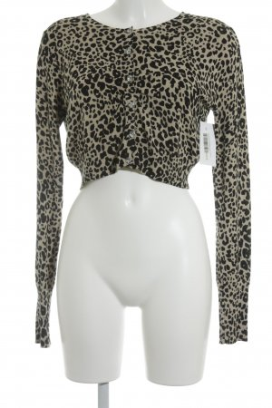 Liu jo Strick Cardigan creme-schwarz Animalmuster Animal-Look