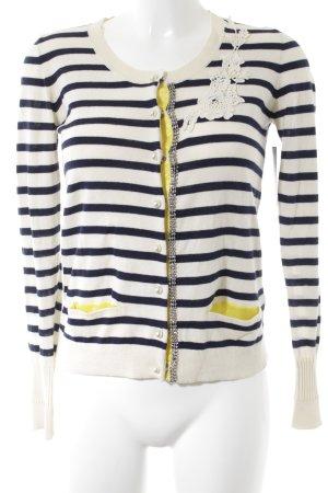 Liu jo Knitted Cardigan oatmeal-dark blue striped pattern extravagant style