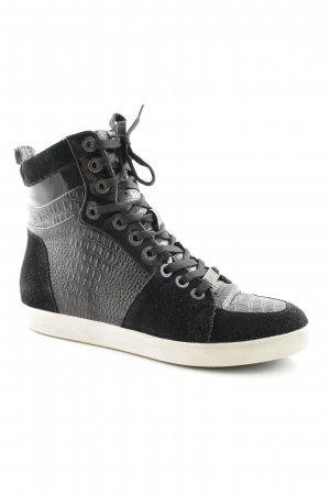 Liu jo Wedge Sneaker schwarz-wollweiß Reptil-Optik