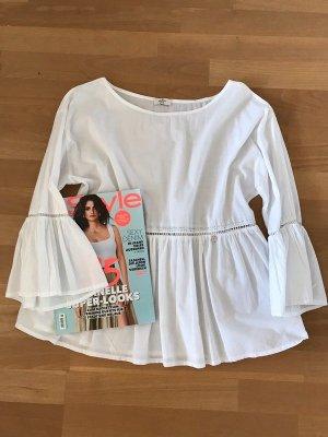 LIU JO weiße Bluse mit verspielten Verzierungen - Gr. M Wochendpreis