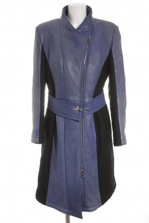 Live&Love Leather Coat dark blue-steel blue extravagant style