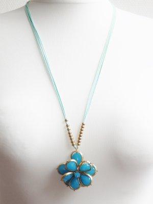*Lizas*Jewellery Blumenkette Türkis Gold -NEU-