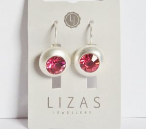 *Lizas*Jewellery Ohrringe Silberfarbend Swarovski Pink