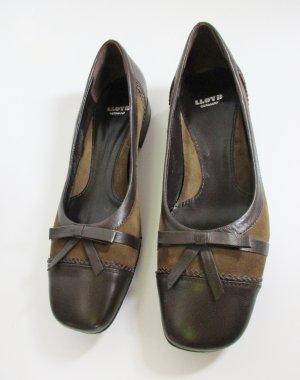 LLOYD Ballerina Slipper Pumps Größe 36 37 4 Leder Braun Khaki Schleife Twotone Schuhe Budapester Luxus Business