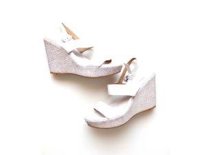 Lloyd Plateau Sandalen Wedges Gr. 38,5 weiß grau Wedges Leder