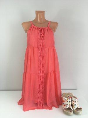 LM Sommerkleid Strandkleid Tunika Seidenkleid Gr. S/36-38 Flamingo Orange