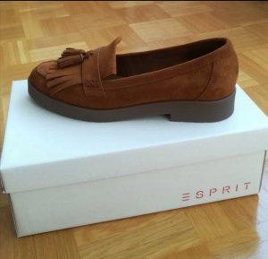 Esprit Slippers cognac-coloured