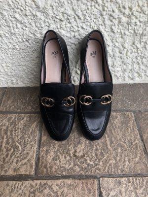 H&M Mocassins noir-doré