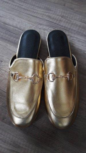 Loafer Slipper Slipons Mules Pantoffeln Pantos Horsebit Gold Metallic 40