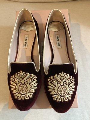 Loafers aus Samt mit Glitzersohle