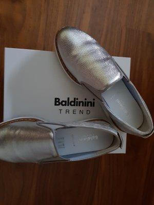 Loafers  Slipper Original Baldinini Gr. 38 Silber Leder