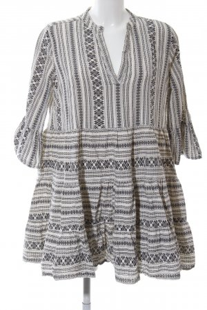 Loavies Blouse Dress cream-black abstract pattern Boho look